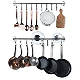 Wallniture Hanging Pot Pan Lid Utensil Organizer Kitchen Rail Stainless Steel 31 Inch Set of 2