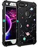 FOOXII Case for iPhone 7 Plus,Case for iPhone 8 Plus[Heavy Duty Shockproof] Silicone + PC Three Layer Hybrid Case High Impact Resistant Protective Cover,Space Black
