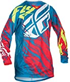 Fly Racing Unisex-Adult Kinetic Relapse Jersey (Teal/Red, Youth Large)