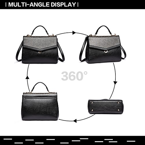 Pu Top Longsun Bag Black Stylish Handbags Handle Bag Rivet Crossbody Satchel Leather Women 1819 0fw0qv