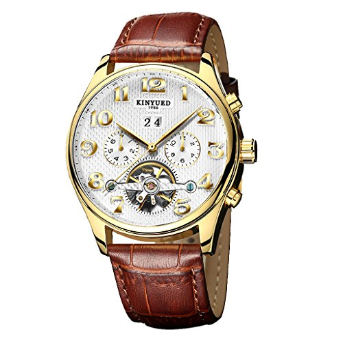 Jili Online KINYUED Men's Automatic Watch Date Stainless Steel Case Leather Tourbillon Wrist Watch