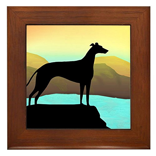 CafePress - greyhound by the sea Framed Tile - Framed Tile, Decorative Tile Wall Hanging