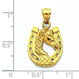14k Gold Solid Polished Horse Head in Horseshoe Pendant - Measures 26x15mm