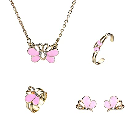 a2c428d385b4 Set de joyas para niñas pequeñas 5 Unids Pink Butterfly Little Girls ...