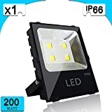 200W LED Flood Lights, 26000LM, Super Bright Outdoor Work Lights,Waterproof IP6, 6500K Cool White ,Stadium Lights,Security Lights,for Garden/Garage/Warehouse/ Square/Billboard/ Factory-1 Pack