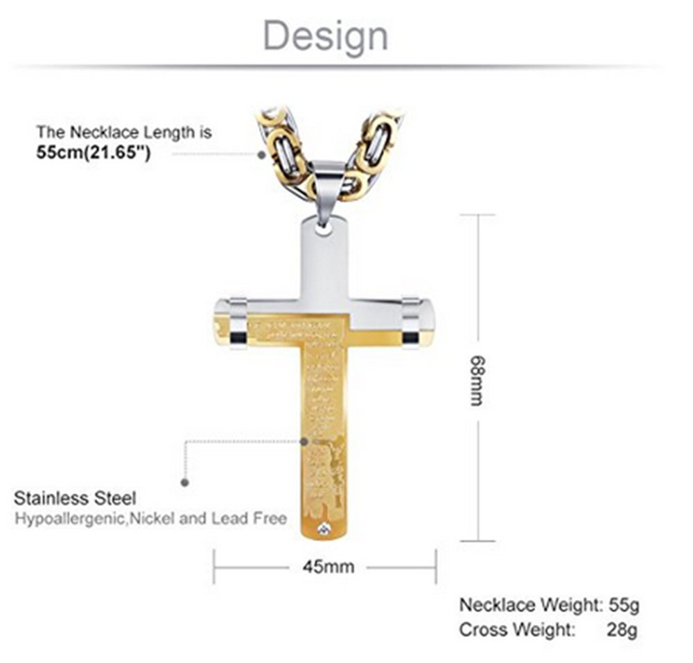 28 Chain /… Jzone Mens Silver /& Gold Polished Titanium Stainless Steel Bible Jesus Holy Cross Pendant Necklace Byzantine Chain 16-40 inches
