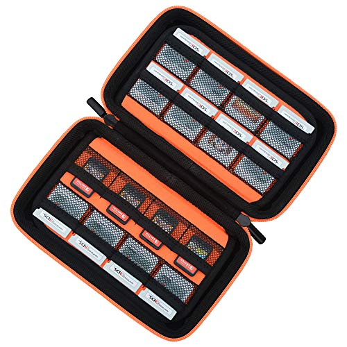 Game Card Storage Holder Hard Case for New Nintendo 3DS, 2DS XL, DS and Nintendo Switch or PS Vita or SD Memory Card - Black/Orange (Best Ds Games For Adults)