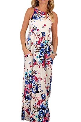 Frauen Elegant Ärmellose Blumenmustern Boho Maxi - Kleid White B3mJO