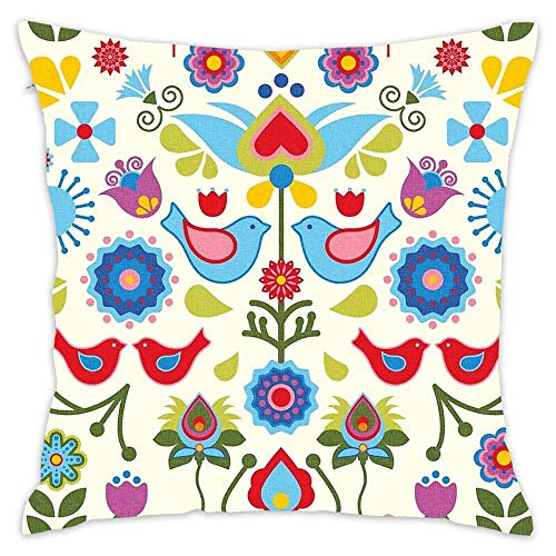 Hwensona Scandinavian Folk Art Birds and Blooms Square Decorative Pillow Case Decor Throw Pillow Cover with Hidden Zipper for Bedroom Sofa 18