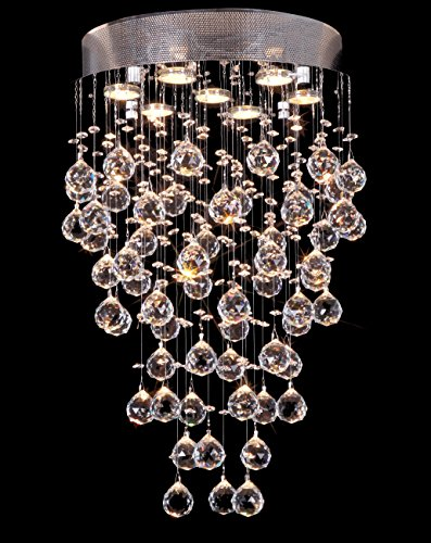 Swarovski Faceted Crystal Sphere (Drops of Rain Design 7-Light 24