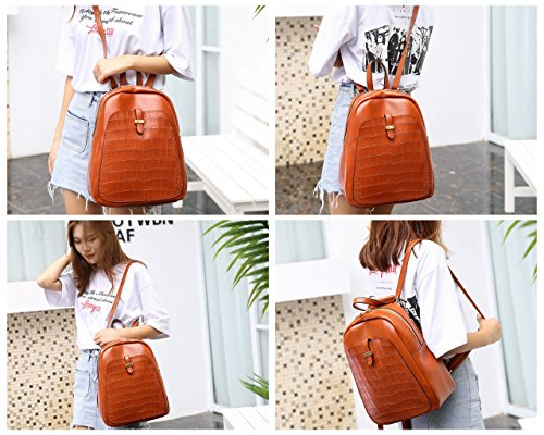Pu Fashion Bag Girl Waterproof Rucksacks School Women Leather Notebooks 2 Laptop 1 Style Shoulder Black Backpacks qBAwtnBr