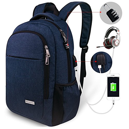 Travel Laptop Backpack,Tzowla Business Anti-theft Water-resistant College Backpack with Combination Lock,USB Charging Port&Headset Port Fits Under 15.6 Inch Laptop and Notebook (Navy Blue) (Lock Notebook Combination Cable)