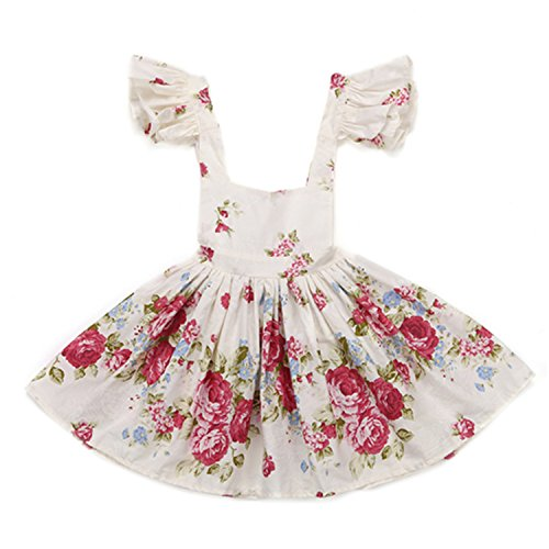 Eazy E Costume Uk (NYGH Rose Floral Printed Baby Girls Dresses NEW summer Brand Princess Dress Casual Costume Kids Clothes Toddler vintage frocks cream 12M)