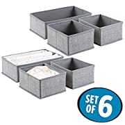 mDesign Fabric Baby Nursery Closet Organizer for Clothing, Hats, Bibs, Diapers - Set of 6, Gray