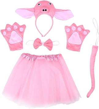 Amosfun 5pcs Conjunto de Disfraz de Cerdo para Niños con Falda de ...