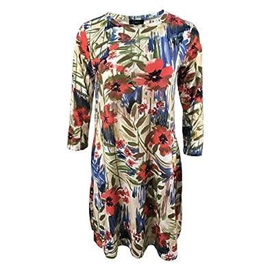 Buffalo Plaid Dress Womens 3/4 Sleeve Floral Print Swing Dress with Pockets