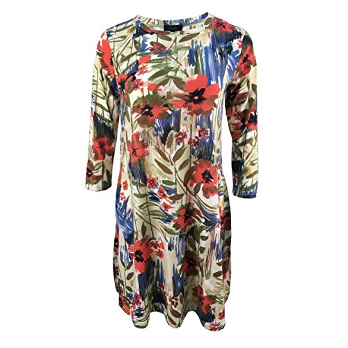 Tunic Dresses for Women 3/4 Sleeve Floral Shift Dress with Pockets (Medium, 305 Coral -