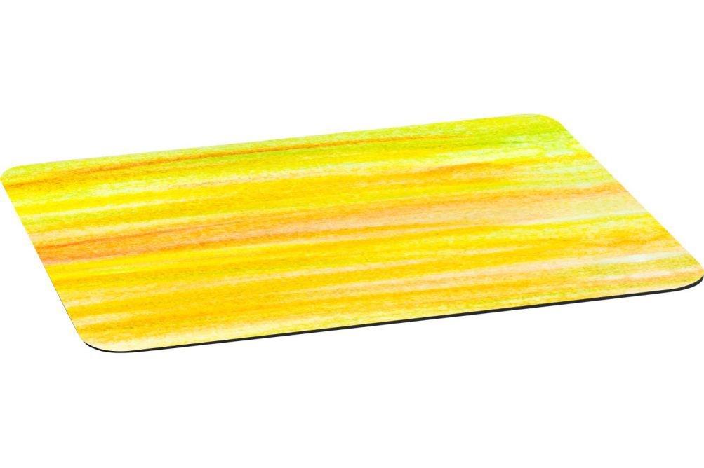 Rikki Knightホワイトとグリーン水彩デザインLargeノンスリップファブリックトップテーブルPlaceマットwithゴムBacking Set-of-2-Placemat イエロー RK-Placemat2-46579 Set-of-2-Placemat YellowStrokesWater B073VRLZLC