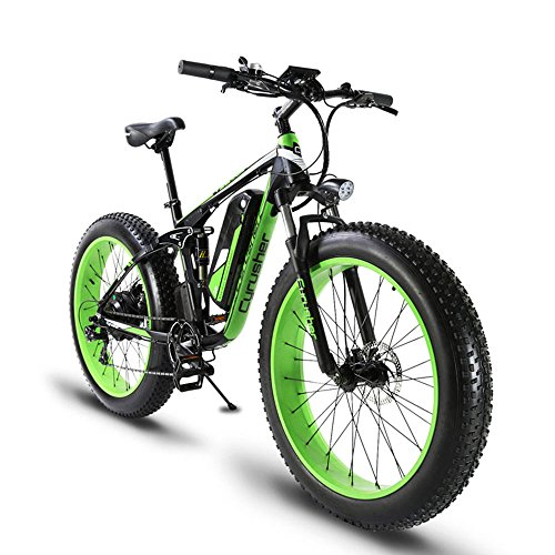 Extrbici XF800 1000W 48V13AH Electric Mountain Bike Full Suspension (Green)