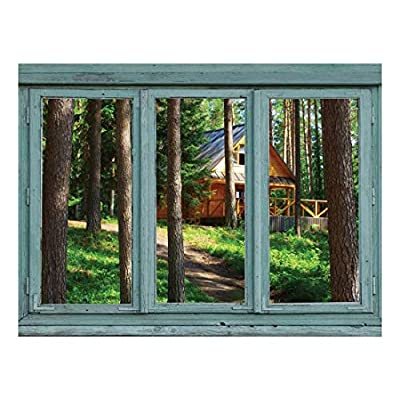 Dazzling Work of Art, Cabin in a Forest Facing The Sun Through The Pine Trees Wall Mural, That's 100% USA Made