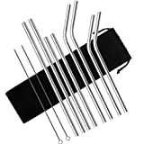 Set of 8 Stainless Steel Straws for 30oz 20oz Tumblers Cups Mugs, GGR Metal Drinking Straw with Cleaning Brush for 30 20 Ounce Yeti Rambler Rtic Ozark Trail
