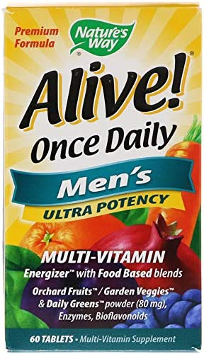 Alive! Once Daily Men's Multi Vitamin (Pack of 2) with Zinc, Copper, Potassium, Magnesium, Vitamin B12, Vitamin B6, Folic Acid, Riboflavin, Niacin and Vitamin C, 60 Count Each