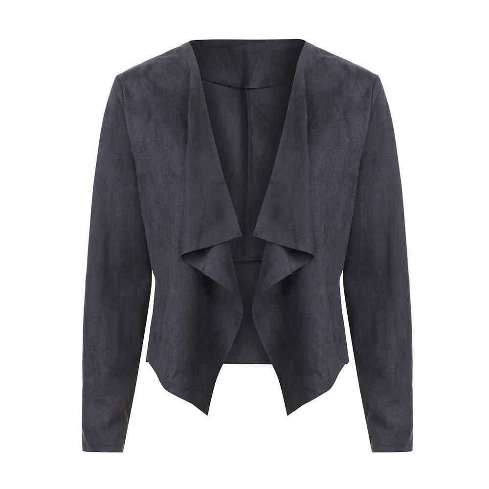 POLPqeD Cardigan Corto Aperto Anteriore a Maniche Lunghe in Pelle per Donna Suits Giacca da Lavoro Cappotto in Eco-Pelle Scamosciata con Risvolto Tinta Unita