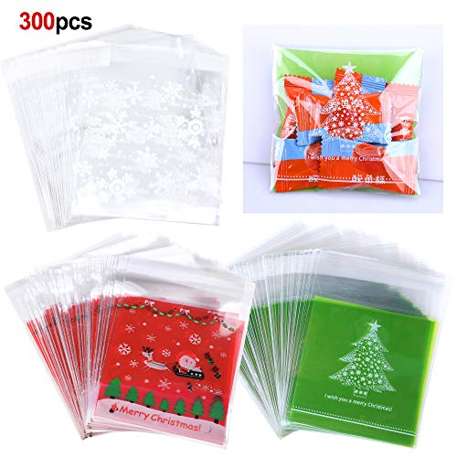 Konsait 300Count Christmas Cookie Candy Treat Bags Self-adhesive Sweets Biscuit Dessert Bags Plastic Bags Packaging Xmas Santa Snowflake Cellophane Gift Goody Bags for Christmas Party Favors Supplies ()