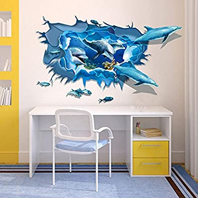 Iuhan® Fashion Removable Dolphin 3D Sea Ocean Stickers Wall Decal Mural DIY Decor Kid Room Art