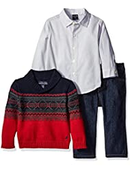 Nautica Baby Boys' Three Piece Set with Woven, Shawl Fairisle Sweater, Pant