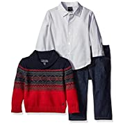 Nautica Baby Three Piece Set with Woven, Shawl Fairisle Sweater, Denim Jean, Red Rouge, 0-3 Months