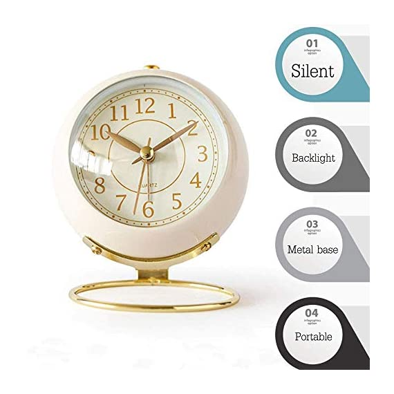 JUSTUP Small Table Clocks, Classic Non-Ticking Tabletop Alarm Clock Battery Operated Desk Clock with Backlight HD Glass for Bedroom Living Room Kitchen Indoor Decor (White) - UNIQUE STYLING DESIGN: Size:4.1*3.3*3 inch. Metallic iron look, well made, gold Arabic numbers, an awesome clear and simple style With metal base, looks conspicuous in your nightstand. SILENT: Non-ticking, quiet and smooth sweeping quartz movement and second hand, ensure a good sleep and best working environment. EASY TO USE: Easy to set the alarm and time on back of the clock. Number dial which is easy to read and button for backlight, simply press the button when staying in bed, time will be clearly visible at night. - clocks, bedroom-decor, bedroom - 51aVR4icarL. SS570  -