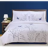 100% Cotton, 3-Piece King/California King, Single Ply, Soft, Embroidered Swallow Duvet Cover Set, Blue