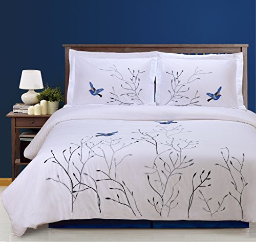 (Superior 100% Cotton Percale Embroidered 3-Piece Duvet Cover Set, King/California King, Blue Swallow)
