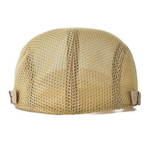 2443fcd3a83 VOBOOM Men Breathable mesh Summer hat Adjustable Newsboy Beret Ivy Cap  Cabbie Flat Cap MZ124 (