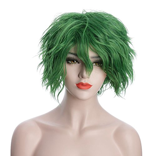 Karlery Unisex Fluffy Short Bob Wave Green Halloween Cosplay Wig Anime Costume Party Wig -