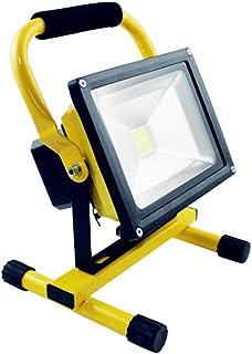 HENGMEI 100W Bianco freddo Faretto Proiettore Faro a LED a batteria Lampada da lavoro Ricaricabile Portatile IP65 Impermeabile per Uso Esterno e Interno