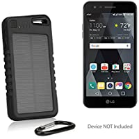 LG Phoenix 3 Battery, BoxWave [Solar Rejuva PowerPack (5000mAh)] Solar Powered Backup Power Bank for LG Phoenix 3 - Jet Black