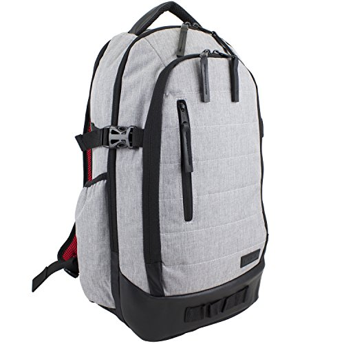 Fuel Athleisure Sleek Backpack with Ergonomic Padded Support System, Light Gray Chambray/Poppy Red