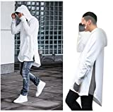 Bopstyle Mens Hipster Hip Hop Classic Pullover Long Zipper Hoodie Sweatshirts Jacket (L, Pure Black)