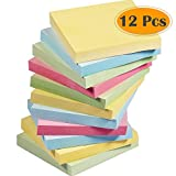 Selizo 12 Pads Sticky Notes, 3 in x 3 in, 100 Sheets/Pad, 4 Candy Colors