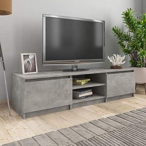 FAMIROSA Meuble TV Gris Béton 140x40x35,5 cm Aggloméré