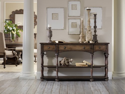 Hooker Furniture Rhapsody Thin Console Table in Rustic Walnu