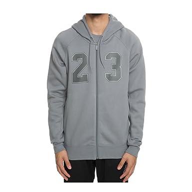 34db5f257e5977 Jordan Nike Mens Flight Fleece Full Zip Hoodie Cool Grey White AJ6390-065  Size