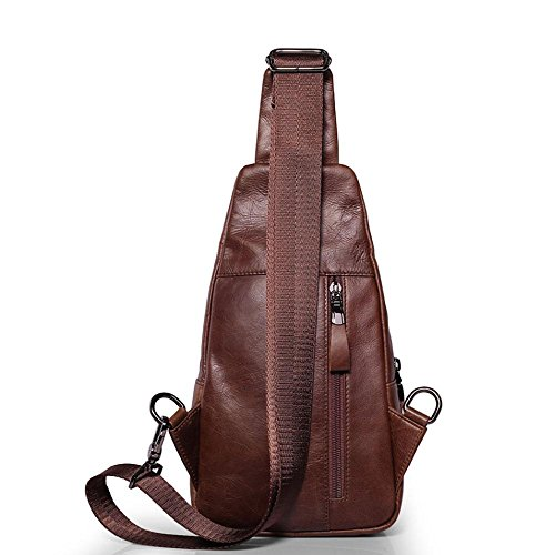 Amazon.com: Pawaca Mens Sling Bag - Genuine Leather Chest Shoulder Bags Casual Crossbody Bag for GymTravel Hiking School(Brown): Sports & Outdoors