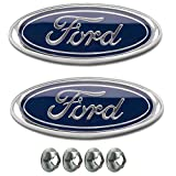 """Muzzys (SET OF TWO) FORD F150 Dark Blue Front Grille/Tailgate Emblems 2005-14, Oval 9"""" X 3.5"""", 3 Mounting Tabs, Grill Badge Medallion Name Plate, Also Fits 05-07 F250 F350, 11-14 Edge, 11-16 Explorer"""