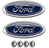 """Muzzys (SET OF TWO) FORD F150 Dark Blue Front Grille/Tailgate Emblems WITH NUTS 2005-14, Oval 9"""" X 3.5"""", 3 Mounting Tabs, Grill Badge Name Plate, F-150 -WITHOUT REAR VIEW CAMERA IN THE EMBLEM ONLY-"""