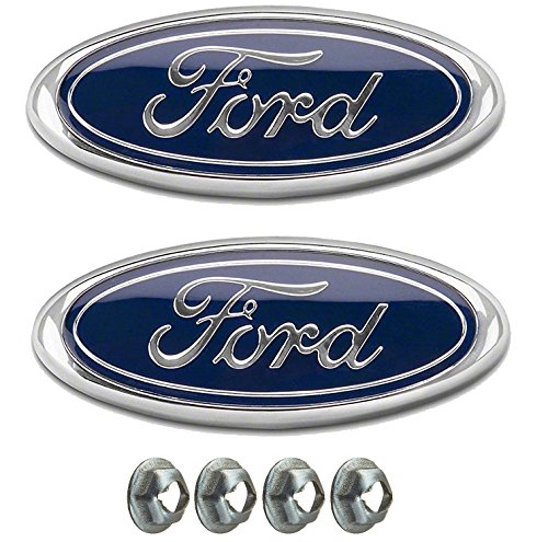 Muzzys (SET OF TWO) FORD F150 Dark Blue Front Grille/Tailgate Emblems WITH NUTS 2005-14, Oval 9