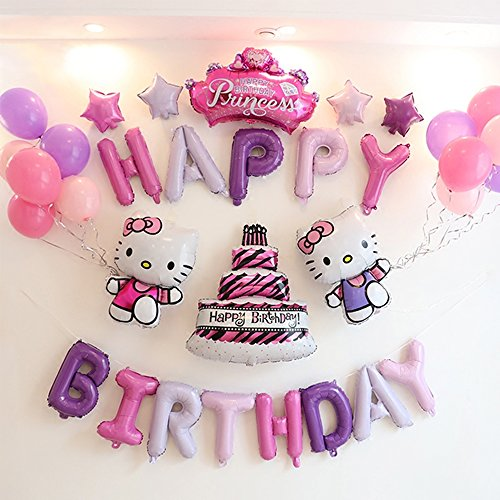 CuteTrees Hello kitty Theme 1st 2nd 3rd 4th 5th 6th 7th 8th 9th birthday party cake crown Foil balloons latex balloons party supplies party decoration birthday decorations 33 pcs -