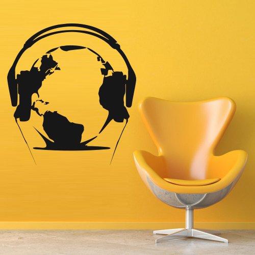 Wall Decal Music Headphones Planet Land Relax Ball Mp3 Audio Globe decor (Planet White Headphone)